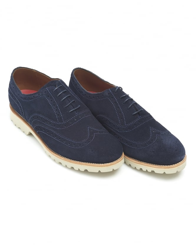 Grenson Shoes Mens Stanley Brogue, Navy Blue Suede Shoe