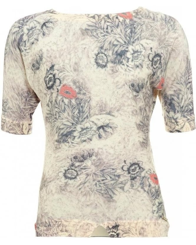 Patrizia Pepe Grey 3/4 Sleeve Floral Knit Top