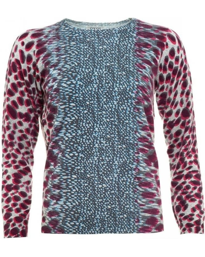 Cocoa Cashmere Grey And Pink Animal Print Jumper