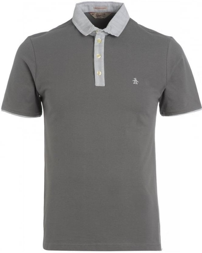 Original Penguin Grey Castle Rock Polo Contrast Stripe 'Grava' Polo Shirt