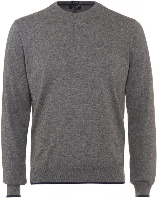 Armani Jeans Grey Elbow Patch Knit Regular Fit Jumper