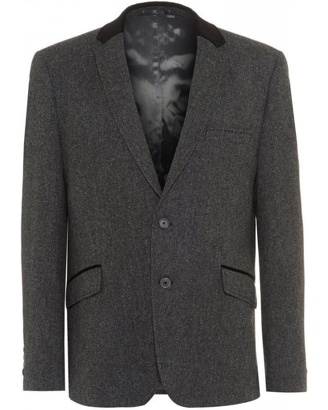 Holland Esquire Grey Fine Herringbone Trend Jacket