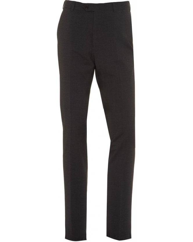Armani Collezioni Grey Flat Front Trousers Wool Stretch Trouser