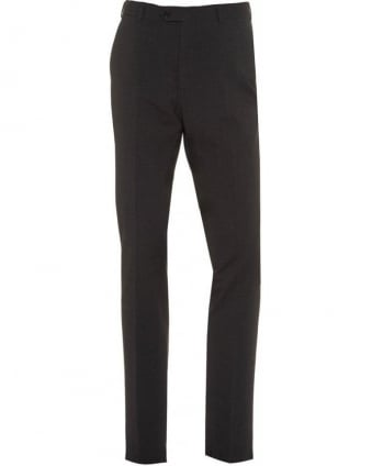 Grey Flat Front Trousers Wool Stretch Trouser
