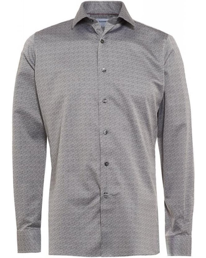 Duchamp Grey Houndstooth Melange, Tailored Fit Shirt