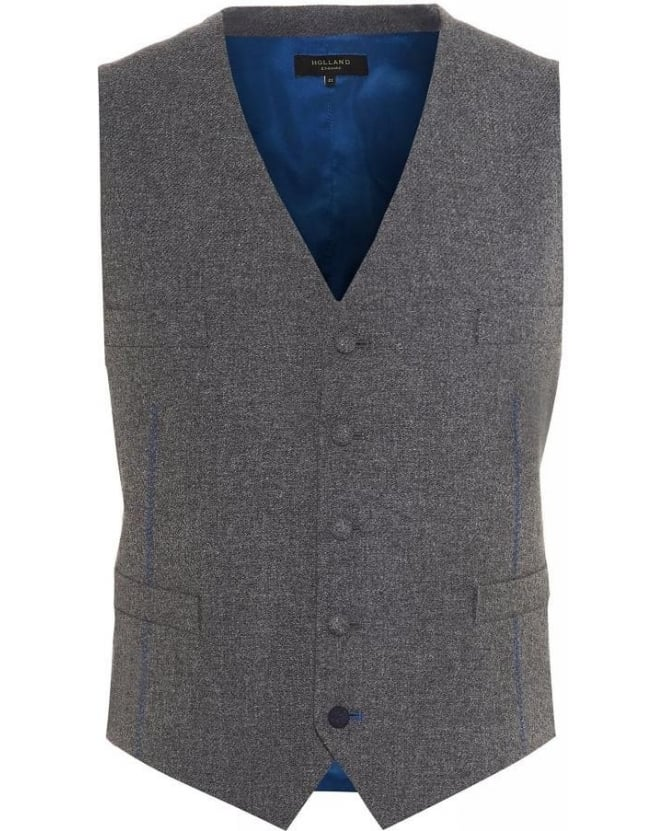 Holland Esquire Grey Lambswool Classic Waistcoat