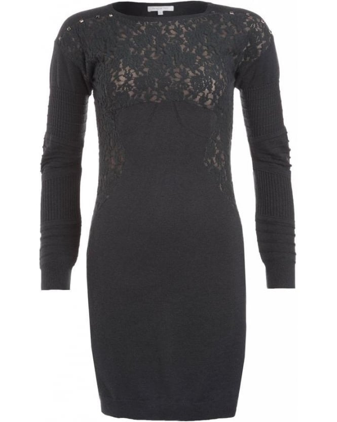 Patrizia Pepe Grey Long Sleeve Floral Lace Dress