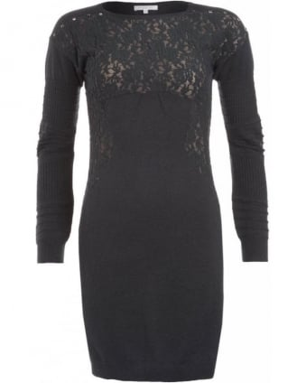 Grey Long Sleeve Floral Lace Dress
