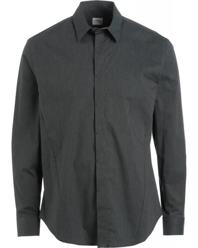 Armani Collezioni Grey Long Sleeve Stretch Cotton Shirt