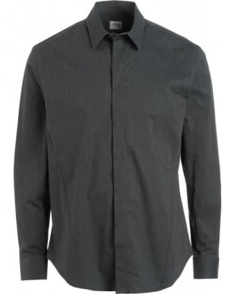 Grey Long Sleeve Stretch Cotton Shirt