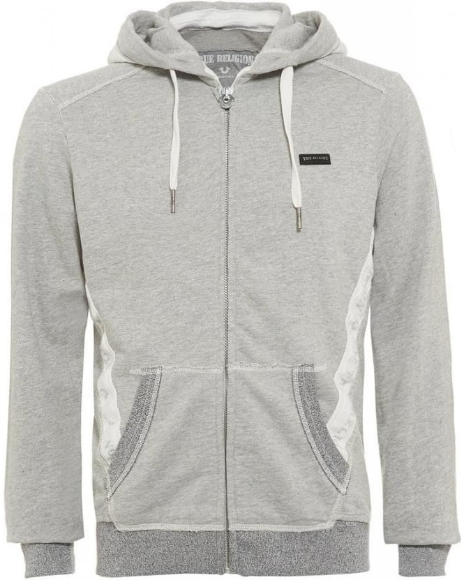 True Religion Jeans Grey Marl Hoodie Tape Zip Hooded Jumper