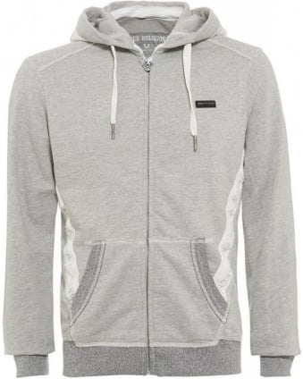 Grey Marl Hoodie Tape Zip Hooded Jumper