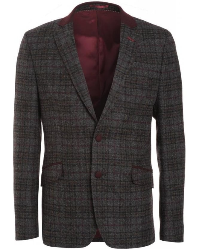 Holland Esquire Grey Multi Shetland Plum Check Jacket