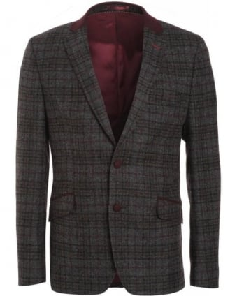 Grey Multi Shetland Plum Check Jacket