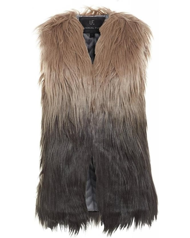 Unreal Fur Grey Ombre Fur Play Vest Faux Gilet