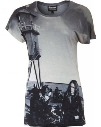 Grey Photographic Print Oversized 'Wing Tee' T-Shirt