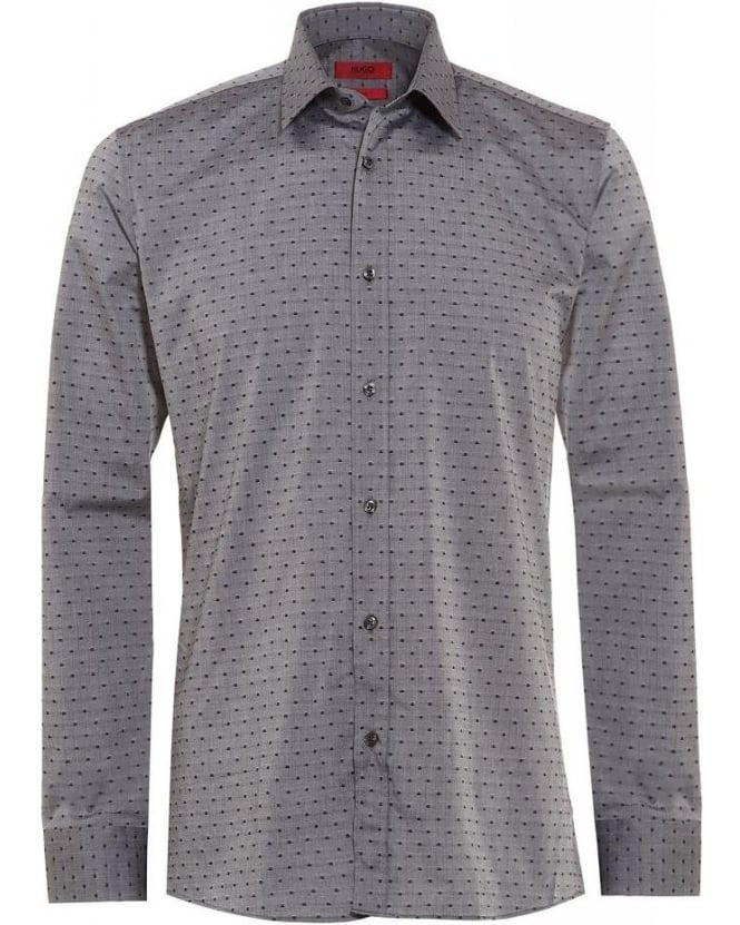 Hugo Boss - Hugo Grey Shirt Slim Fit Small Dot Print Elisha01 Shirt