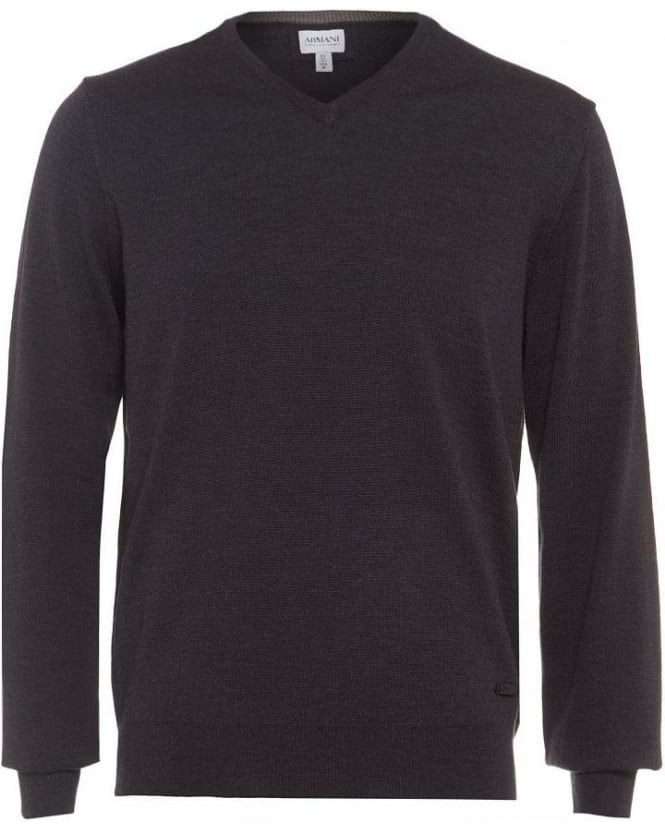 Armani Collezioni Grey V Neck Virgin Wool Jumper