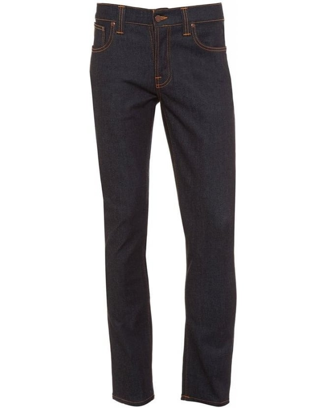 Nudie Jeans Grim Tim Dry Navy, Dark Clean Stretch Cotton Denim Jeans