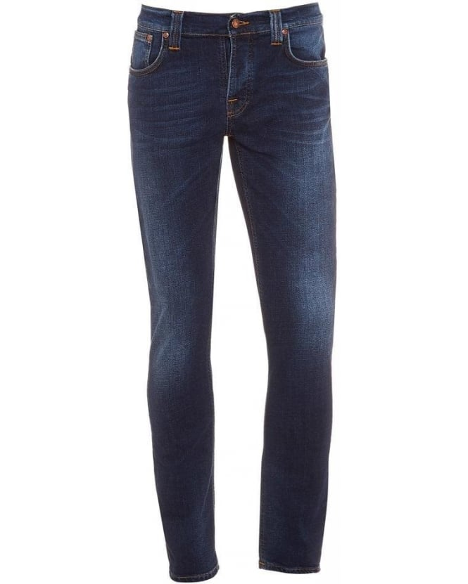 Nudie Jeans Grim Tim Indigo Blue, Crosshatch Worn In Slim Fit Jeans