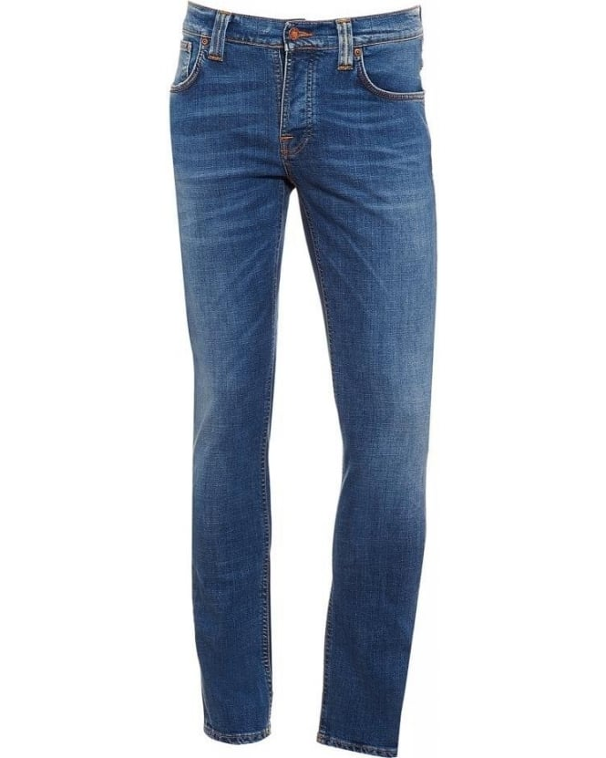 Nudie Jeans Grim Tim Rainy Compact, Light Wash Stretch Cotton Denim Jeans