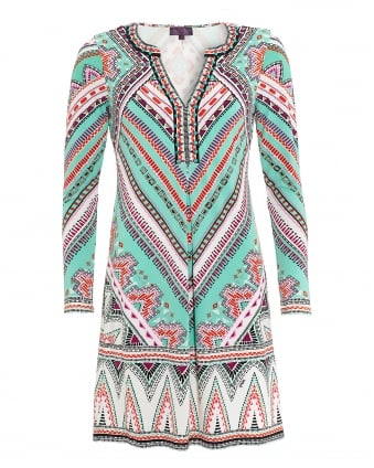 Womens Adonia Dress, Aztec Beaded Mint Green Dress