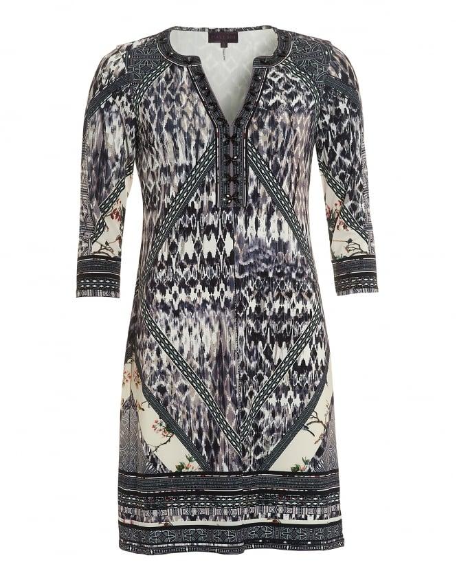 Hale Bob Womens Adonis Beaded Tunic Shape Beige Grey Dress