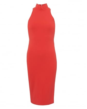 Womens Cadyna Dress, Turtle Neck Sleeveless Coral Red Dress