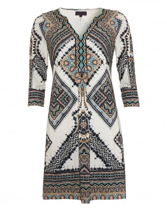 Womens Dress, Beige Aztec Print V-Neck Tunic