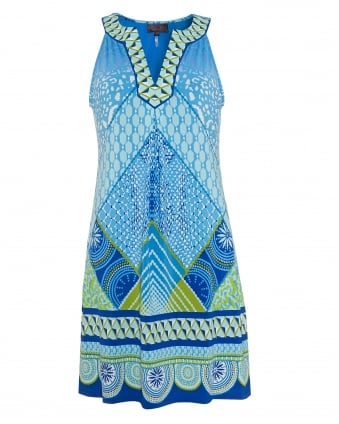 Womens Dress, Blue Patterned Beaded Sleeveless Tunic