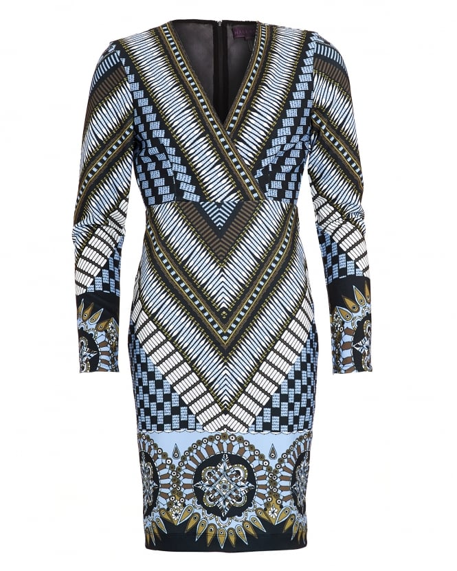 Hale Bob Womens Dress, Idys Pebbled Chevron Blue Dress