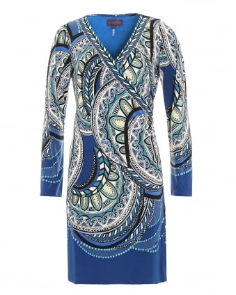 Womens Dress, Orchid Nouveau Paisley Blue Dress