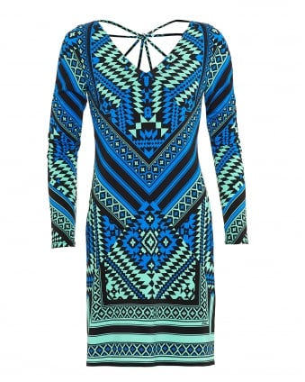 Womens Dress, Pami Starburst Aztec Blue Dress