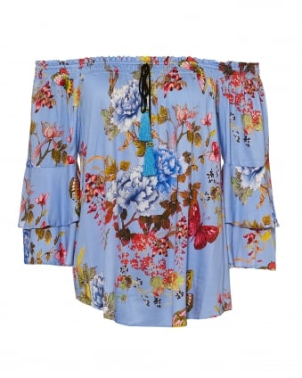 Womens Faina Top, Floral Butterfly Print Blue Top