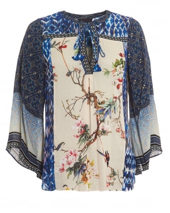 Womens Jasmine Blossom Top, Tunic Blue Blouse