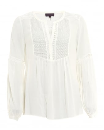 Womens Piera Tunic, Crepe Cuffed Ivory Blouse
