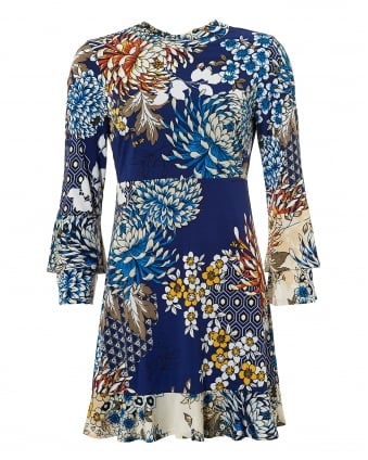 Womens Rosario Jersey Dress, Flower Print Navy Dress