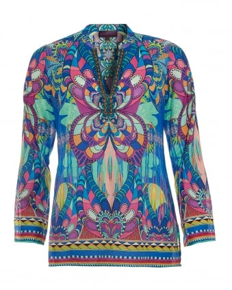 Womens Top, Multi-Coloured Psychedelic Print Blouse