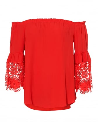 Womens Vivienne Top, Red Lace Detail Blouse