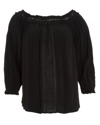 Womens Zeta Bare Blouse, Off Shoulder Black Crepe Blouse