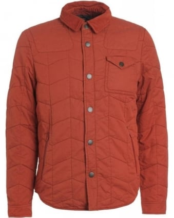 Heritage, Brick Red 'Curve Dept B' Quilted Overshirt