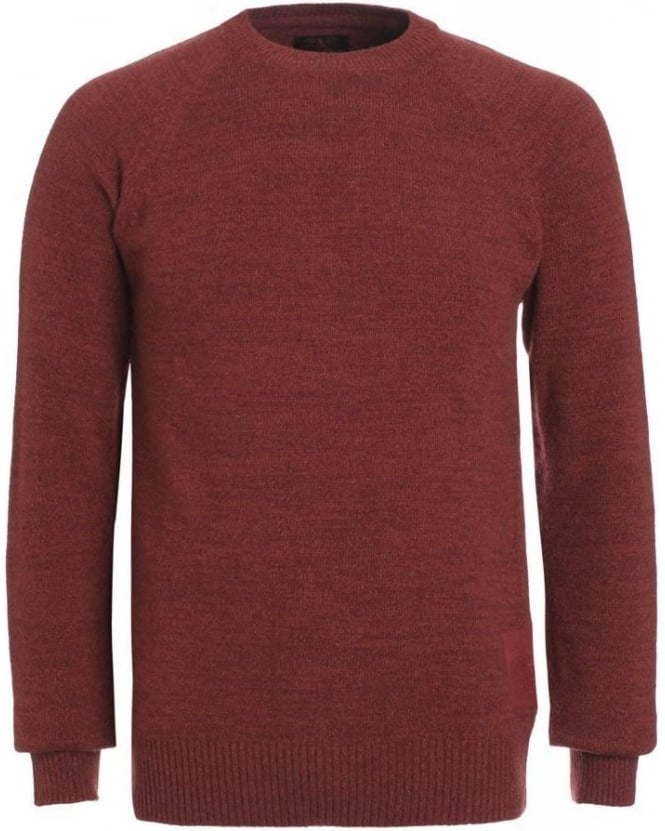 Barbour Heritage Knit, Ruby Red 'Staple Crew' Wool Jumper