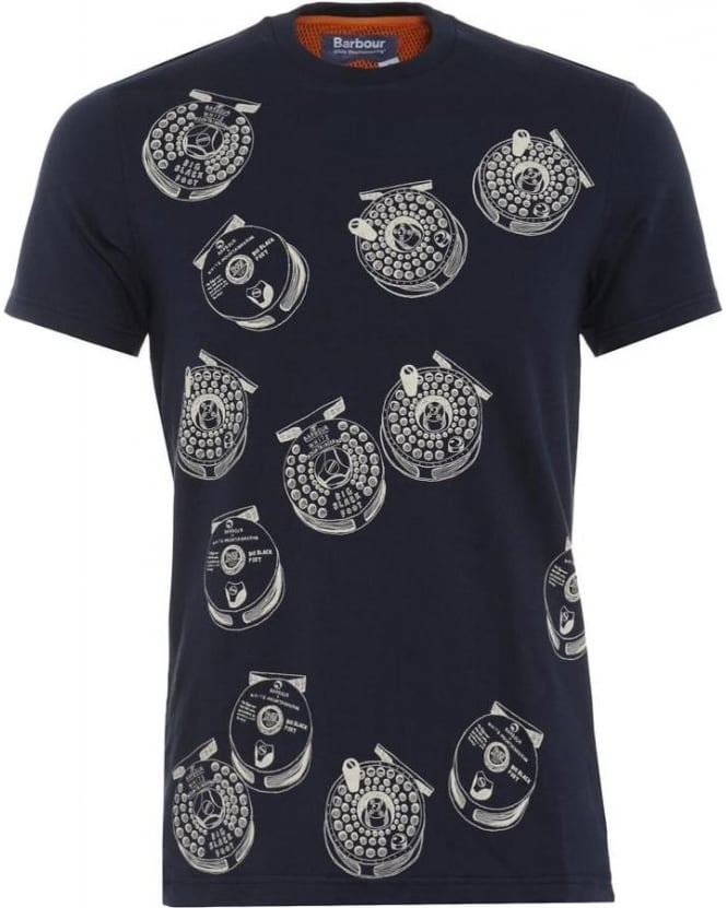 Barbour Heritage Mens T-Shirt Komai Fishing Reel Navy Tee