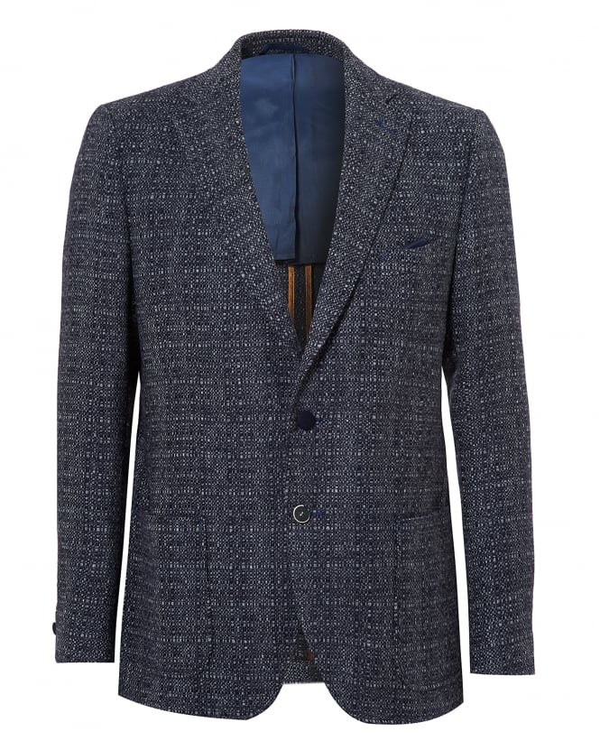 Holland Esquire Mens Bertie Jacket, Slim Fit Navy Slub Blazer