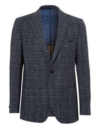 Mens Bertie Jacket, Slim Fit Navy Slub Blazer