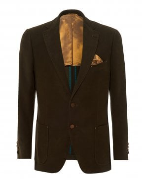 862384454 Mens Bertie Moleskin Blazer, Olive Green Slim Fit Jacket