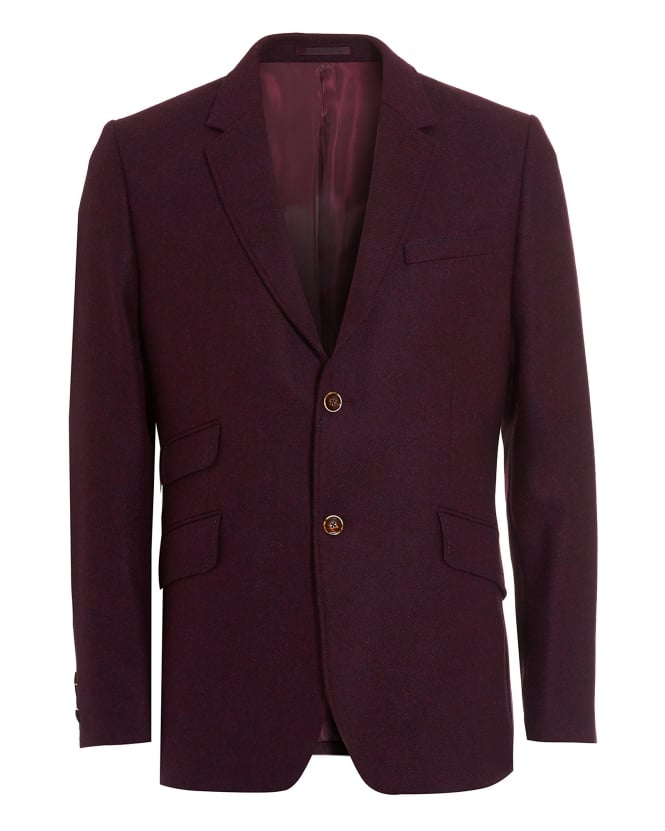 Holland Esquire Mens Blazer, Shetland Check Arm Plum Jacket