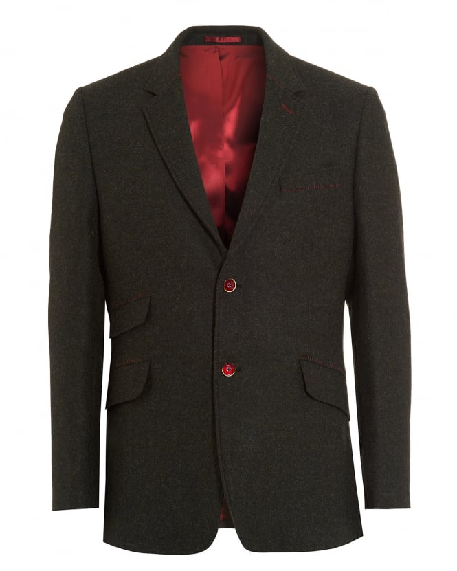 Holland Esquire Mens Blazer, Shetland Herringbone Check Olive Jacket
