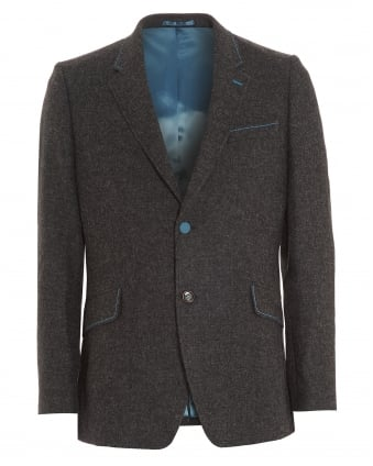 Mens Blazer, Shetland Turquoise Stitch Charcoal Grey Jacket