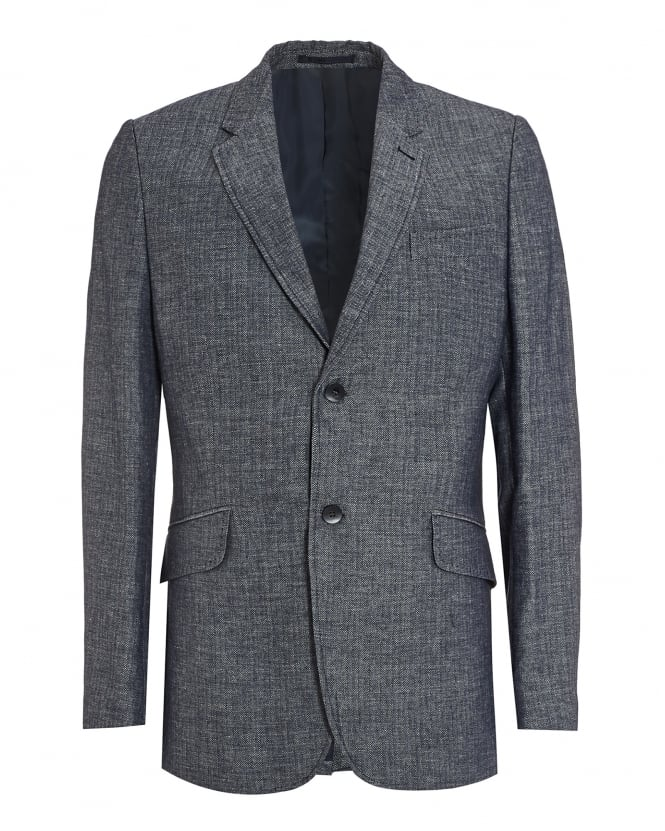 Holland Esquire Mens Clarance Jacket, Navy Blue Herringbone Blazer